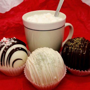 Hot Cocoa Bombs with Mug of Cocoa