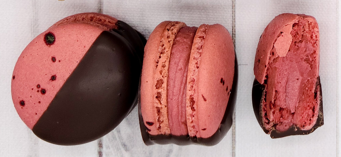 cherry chocolate dip macarons
