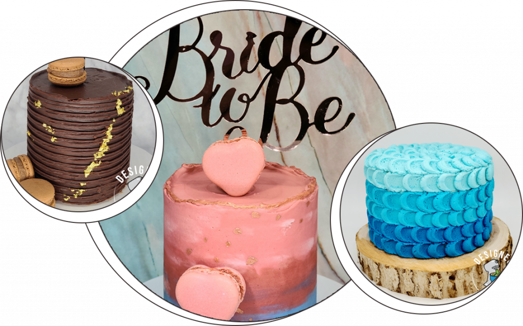 colorful cake collage including bridal shower cake
